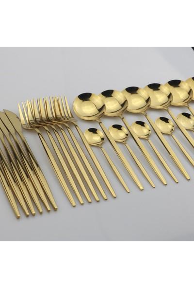 Beyaz Martı Çatal Kaşık Bıçak Seti 6 Kişilik Altın