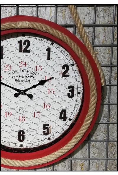 Özell. Halatlı Ahşap Duvar Saati Bordo