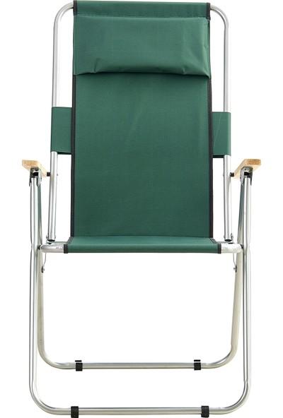 Byeren Uzun Arkalıklı Katlanır Kamp Plaj Deniz Piknik Sandalye Yeşil