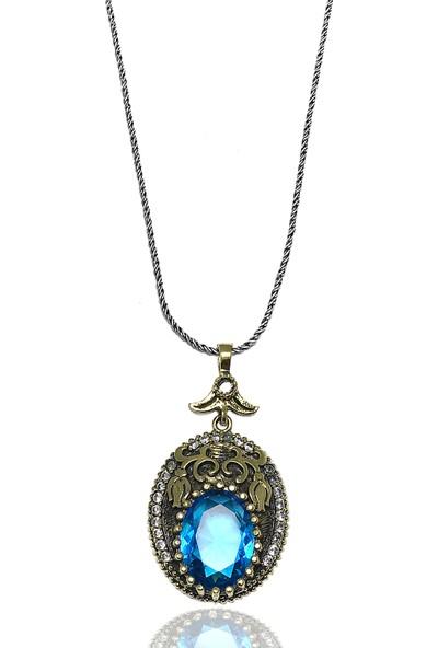 Midyat Gümüş Dünyası Otantik Aquamarin Taşlı Model Bayan Kolye