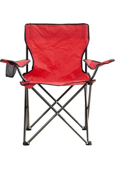 Byeren Kamp Sandalyesi Katlanır Çantalı Kırmızı