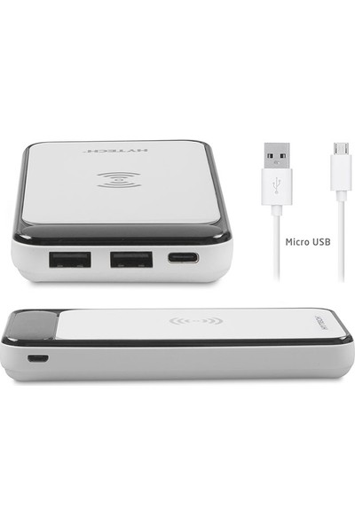 Hytech HP-C17W 10000 mAh Powerbank 2 Usb Port Beyaz Kablosuz Taşınabilir Pil Şarj Cihazı