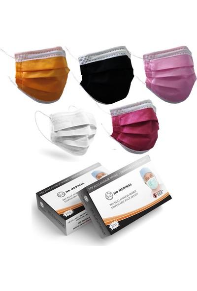 Md Medikal 3 Katlı Full Ultrasonik Gökkuşağı Renkli Burun Telli Cerrahi Maske 10'lu x 10 Adet