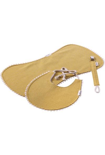 Miniyoki Sahara Hardal Sarısı 3'lü Mama Önlüğü, Emzik Askısı ve Omuz Bezi Seti - Polka Dot Desenli Ponpon Şeritli