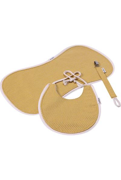 Miniyoki Sahara Hardal Sarısı 3'lü Mama Önlüğü, Emzik Askısı ve Omuz Bezi Seti - Polka Dot Desenli Örgü Şeritli
