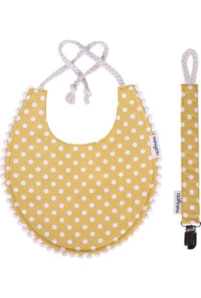 Miniyoki Solare Hardal Sarısı 2'li Mama Önlüğü ve Emzik Askısı Seti - Polka Dot Desenli Ponpon Şeritli