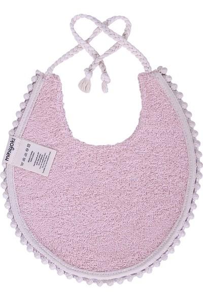 Miniyoki Rosy Pembe Mama Önlüğü - Polka Dot Desenli Ponpon Şeritli