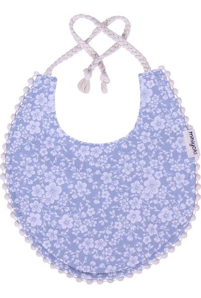 Miniyoki Jasmine Mavi Mama Önlüğü - Çiçek Desenli Ponpon Şeritli