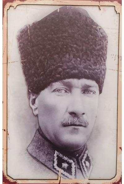 Mixperi Mustafa Kemal Atatürk Fotoğraflı Yapışkanlı Ahşap Retro Tablo