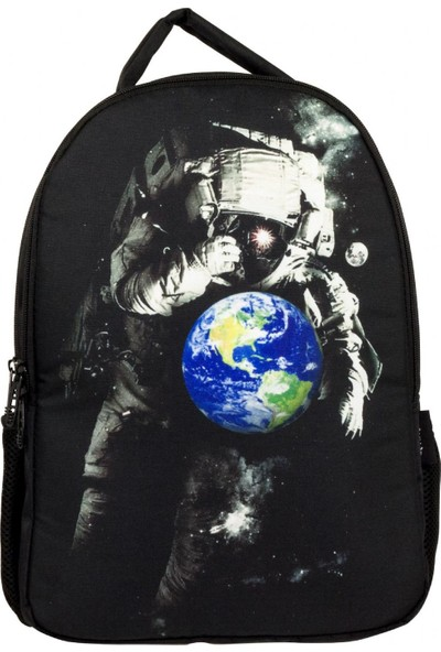 Cennec Astronot ve Dünya Baskılı İki Bölmeli Okul ve Günlük Sırt Çantası