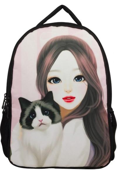 Cennec Güzel Bakışlı Kız ve Kedisi Okul ve Günlük Sırt Çantası İki Bölmeli
