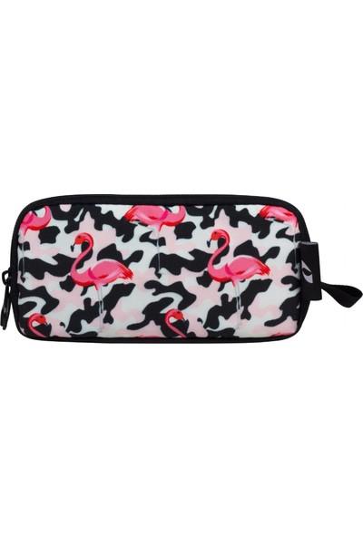 Cennec Pembe Flamingo İki Bölmeli Kalem Çantası Kız Çocuk