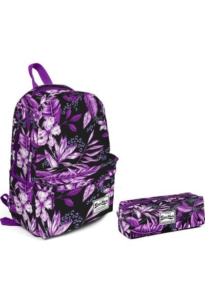 Coral High Yaprak ve Çiçek Desenli Kız Çocuk Okul Çanta Seti Mor