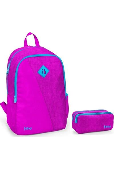 iBag 14318 Kız Çocuk Okul Sırt Çantası ve Kalemlik Seti Fuşya