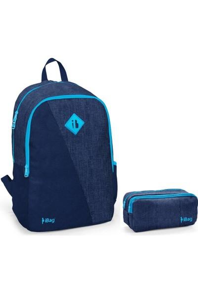 iBag 14320 Erkek Okul Sırt Çantası ve Kalemlik Seti Lacivert Mavi