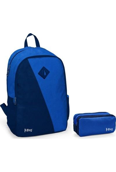 iBag 14322 Erkek Okul Sırt Çantası ve Kalemlik Seti Lacivert Mavi