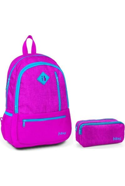 iBag 14342 Kız Çocuk İlkokul Sırt Çantası ve Kalemlik Seti Pembe