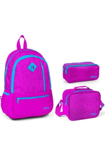 iBag 14342 Pembe Renkli Kız Çocuk İlkokul Çanta Seti
