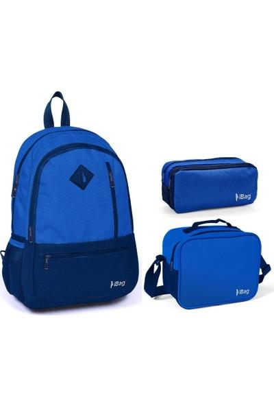 iBag 14347 Mavi Lacivert Renkli Erkek Çocuk İlkokul Çanta Seti