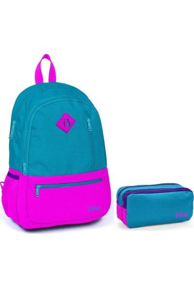 iBag 14348 Kız Çocuk İlkokul Sırt Çantası ve Kalemlik Seti Yeşil Pembe