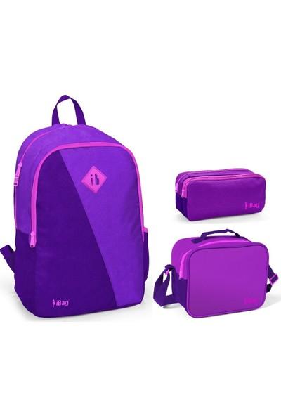 iBag Mor Eflatun Renkli Kız Çocuk Okul Çanta Seti 14324