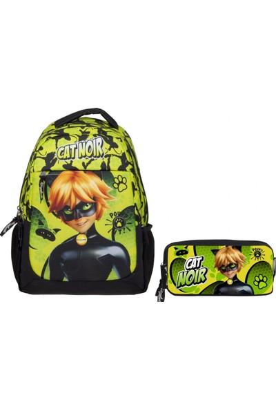 Ümit Çanta Cat Noir Yeşil Erkek Çocuk Okul Çanta Seti Sırt Çantası ve Kalemlik
