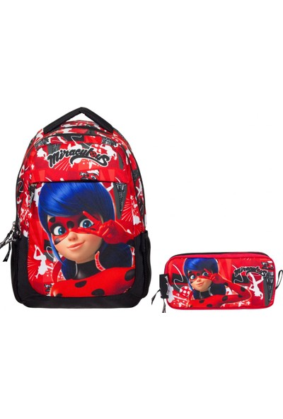 Ümit Çanta Lady Bug Kırmızı Kız Çocuk Okul Çanta Seti Sırt Çantası ve Kalemlik