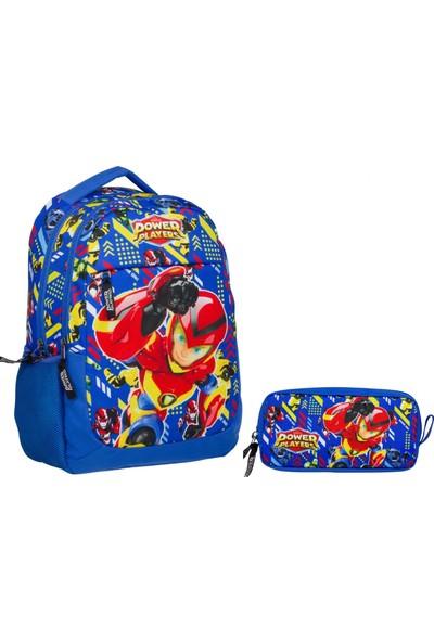 Ümit Çanta Power Players Mavi Erkek Çocuk Okul Çanta Seti Sırt Çantası ve Kalemlik