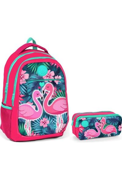 Yaygan Flamingo Baskılı Kız Çocuk İlkokul ve Ortaokul Çanta Seti Nar Çiçeği