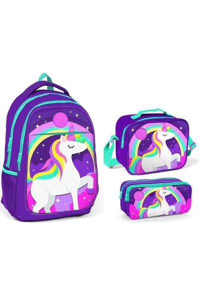 Yaygan Kids Unicorn Baskılı Mor İlkokul ve Ortaokul Çanta Seti