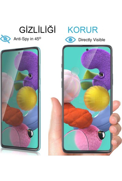 UKS Case Samsung Galaxy A20S Ekran Koruyucu Gizlilik Filtreli Privacy Cam