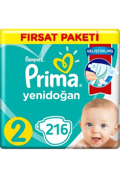 Prima 2 Beden Yenidoğan Bebek Bezi Fırsat Paketi (3*72) 216