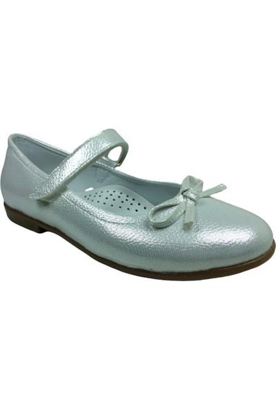 Ortaç FiletBabet Gümüş Parlak Kız Çocuk Ayakkabı Cırtlı İçi Deri