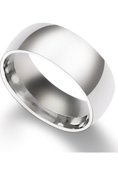 Başar Gümüş Çelik Alyans Yüzük -Mat 8 mm
