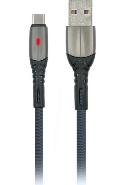 MF Product Jettpower 0037 Metal Başlıklı Örgülü 2.4A Led Işıklı Type-C Hızlı Şarj Kablosu 1 m Gri