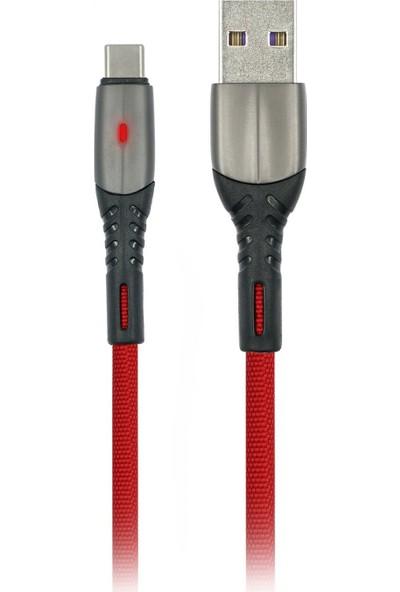 MF Product Jettpower 0037 Metal Başlıklı Örgülü 2.4A Led Işıklı Type-C Hızlı Şarj Kablosu 1 m Kırmızı