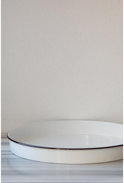 Refikadan Galvaniz Siyah Kordonlu Tepsi - 46 cm