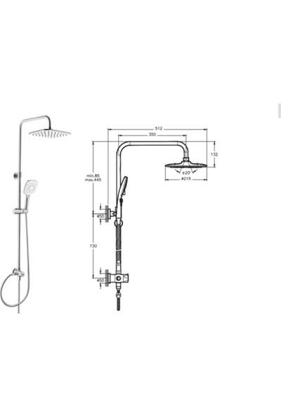 Punto Plus 3s Kare Tepe Duş Kolonu Duş Paneli