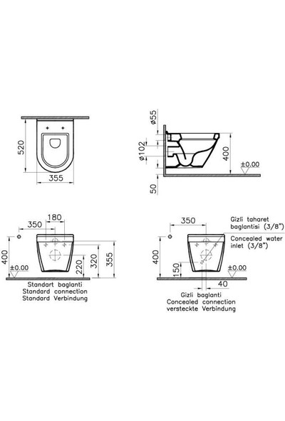 VitrA S50 Asma Klozet + Soft Kapak + Gömme Rezervuar Set