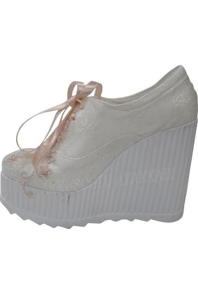 Punto 518021 Sedef-Pudra Fashion Yüksek Taban Gelinlik Ayakkabı