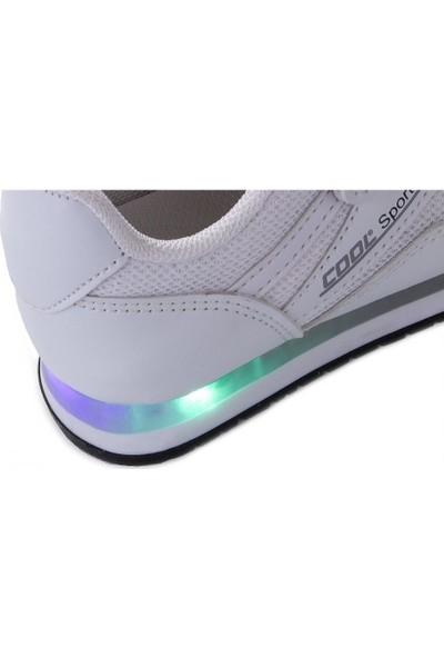 Cool 20-S13 Beyaz Erkek Çocuk Fileli Günlük Spor Ayakkabı