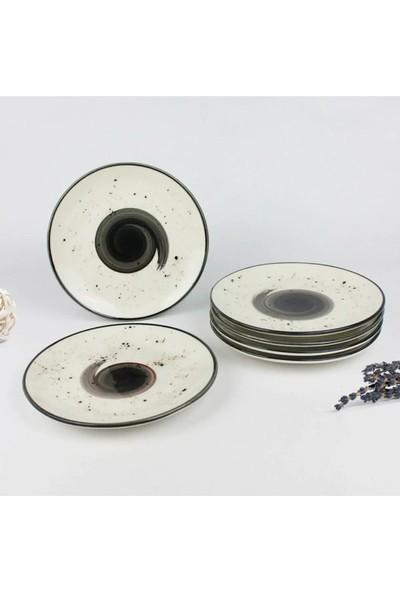 Tulü Porselen Galaxy Siyah 6 Adet 24 cm Servis Tabağı Takımı