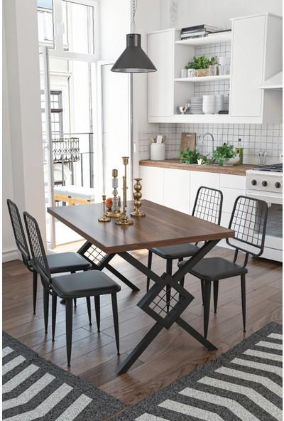Wood House Berlingo Yemek Masası Takımı Ceviz