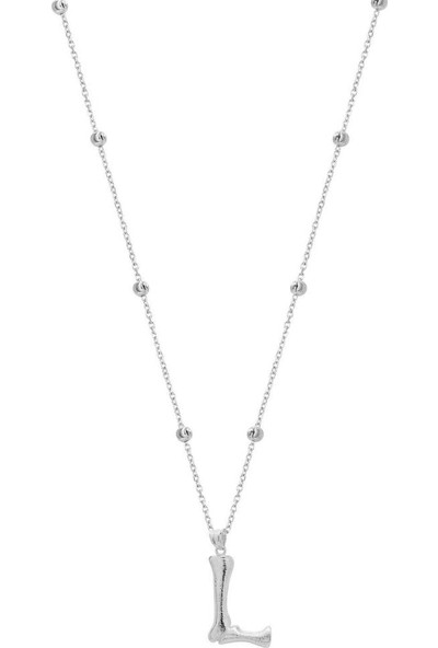 Coşar Silver Büyük Bambu Gümüş Harf Rodium - L