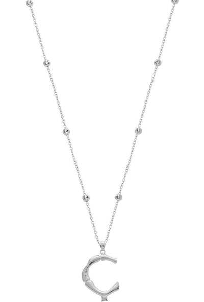 Coşar Silver Büyük Bambu Gümüş Harf Rodium - Ç