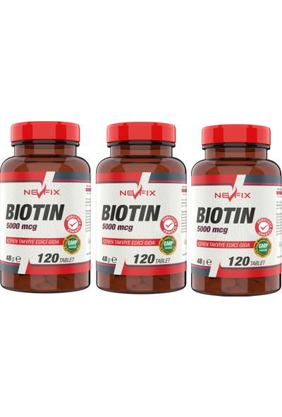 Nevfix Biotin 5000 Mcg 120 Tablet 3 Kutu 360 Tablet