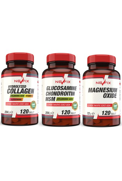 Nevfix 3'lü Paket Magnezyum / Collagen / Glucosamine