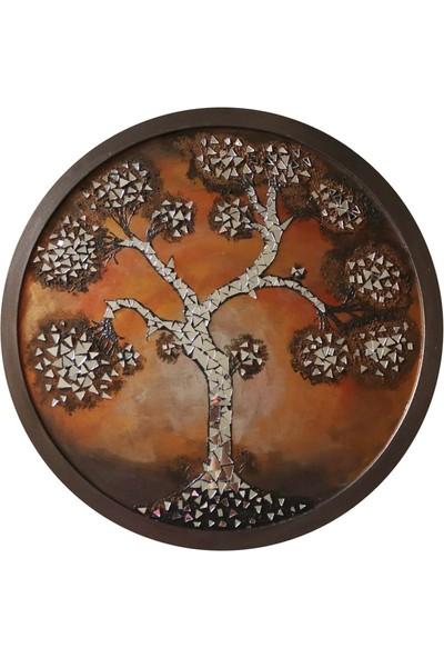 Ahşap Tasarım Yuvarlak Hayat Ağacı Mozaik Ayna