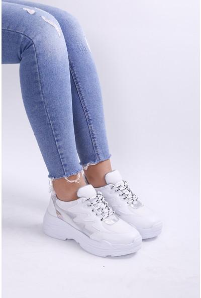 Ayax 180011 Beyaz/Platin Kadın Sneaker