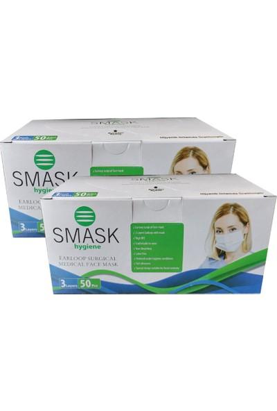 Smask Cerrahi Telli 3 Katlı Nonwoven Filtreli Maske 50'li 2 Adet